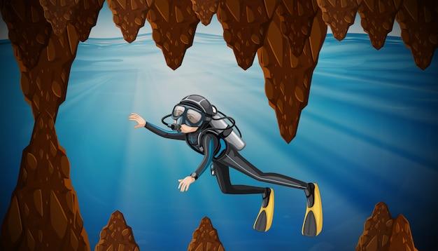 Plongée sous-marine dans une grotte sous-marine