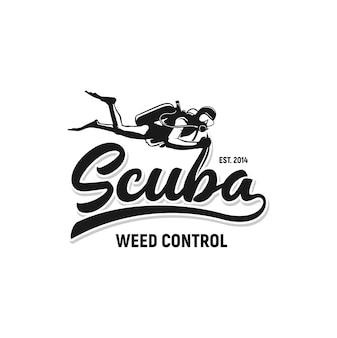 Plongée sous-marine inspiration logo contrôle des mauvaises herbes