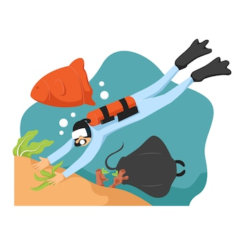 Plongée sous-marine plongée sur récif avec bleu