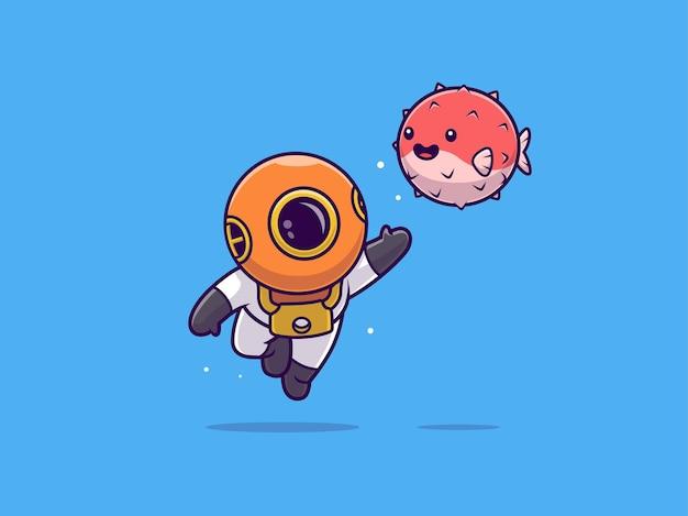 Plongeur mignon flottant et agitant la main à un ballon mignon