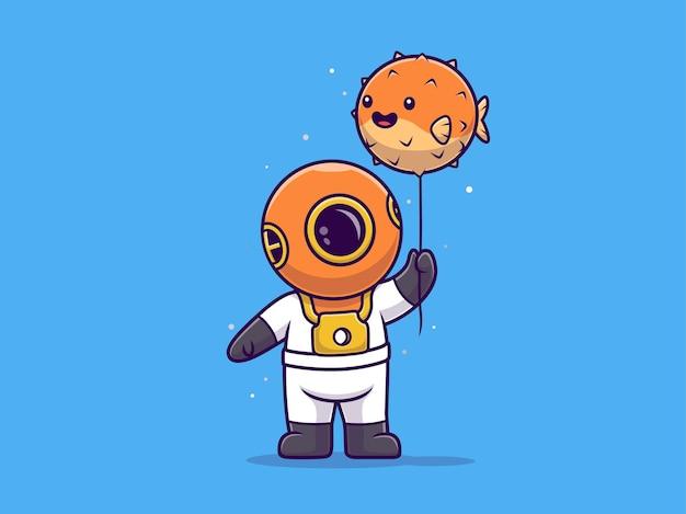 Plongeur mignon tenant un dessin animé mignon ballon ballon