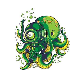 Plongeur avec mignonne pieuvre
