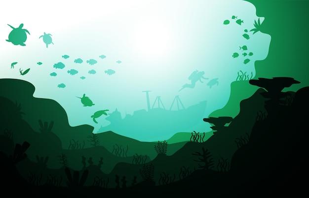 Plongeur navire coulé faune animaux marins illustration aquatique sous l'eau