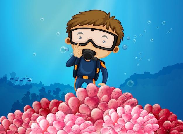 Plongeur sous-marin plongeant sous l'océan