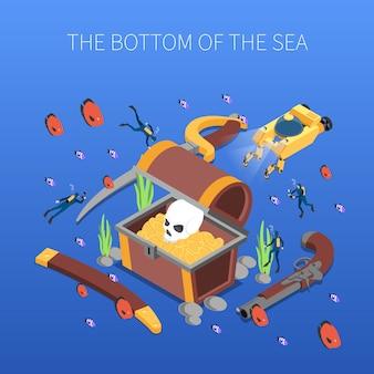 Les plongeurs au cours de l'étude du trésor de fond marin composition isométrique vector illustration