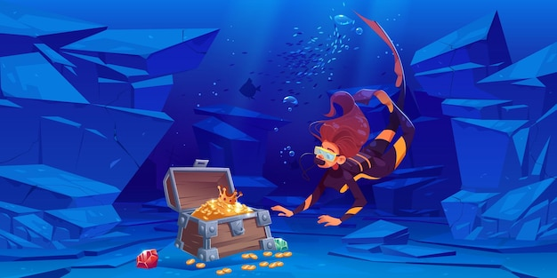 Une plongeuse découvre un coffre au trésor avec de l'or sous l'eau en mer ou en océan.