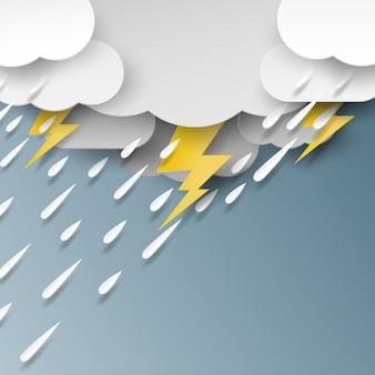 Pluie, nuage et éclairage de style art papier.