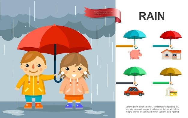 Pluie plate brillante avec des enfants avec un parapluie debout sous la pluie et l'illustration des éléments de propriété