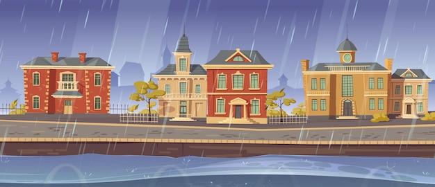 Pluie et vent dans la vieille ville avec bâtiments européens rétro et promenade du lac.