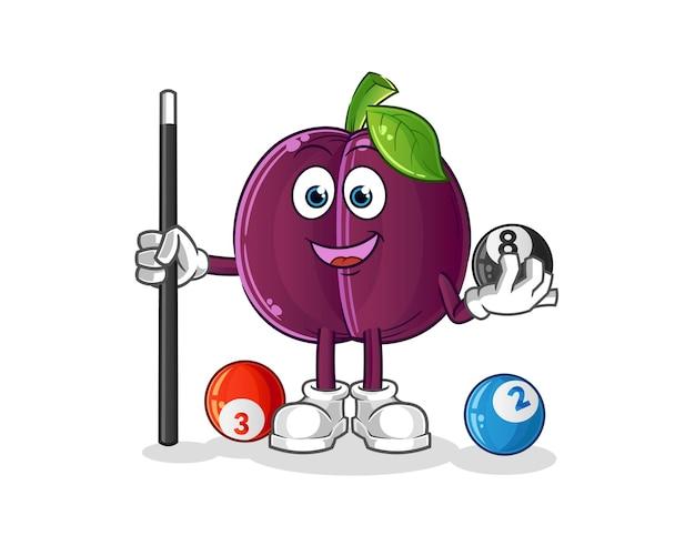 Plum joue le personnage de billard. mascotte de dessin animé
