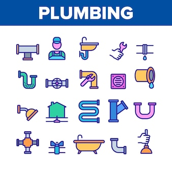 Plumbing elements icons set