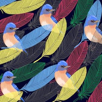 Plume abstraite sur fond d'oiseau bleu