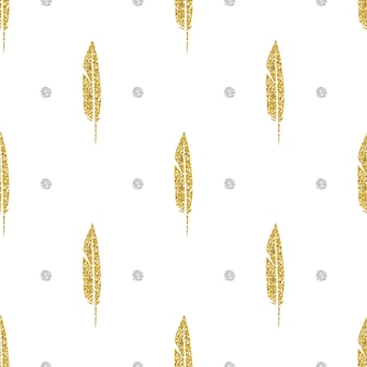 Plume éclatante en or sans soudure avec fond d'arrière-plan en argent