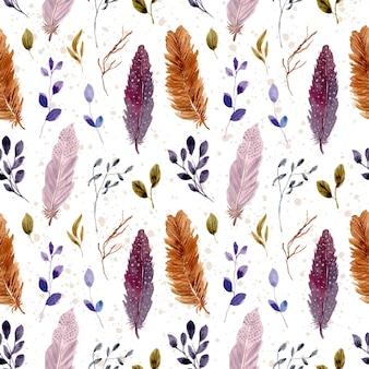 Plume et feuilles modèle sans couture aquarelle