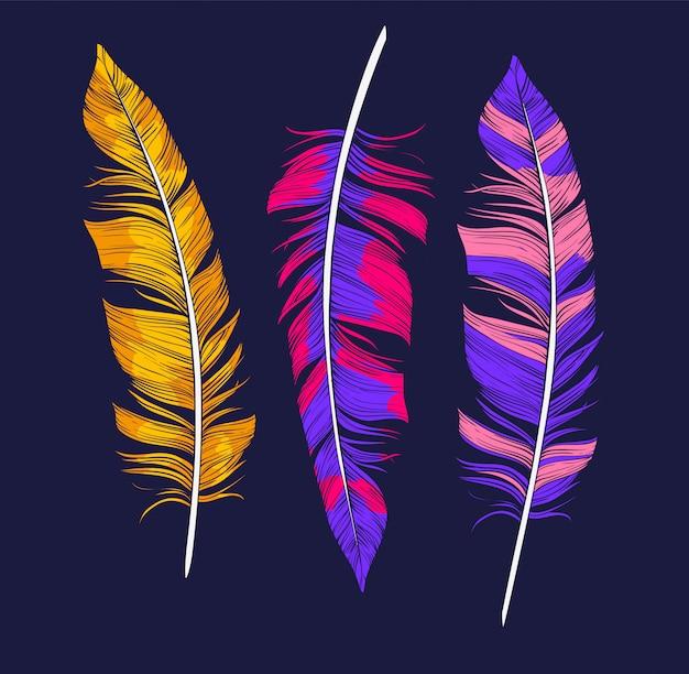 Plume lumineuse pour la conception de la décoration. ensemble d'éléments dessinés à la main boho
