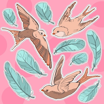 Plume et oiseau patch vecteur mode autocollant.