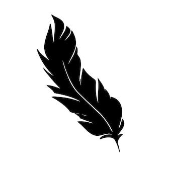 Plume d'oiseaux silhouette de plume noire pour ensemble de vecteurs de logo