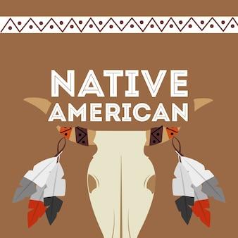 Plumes de crâne de buffle américain natif ornement culture