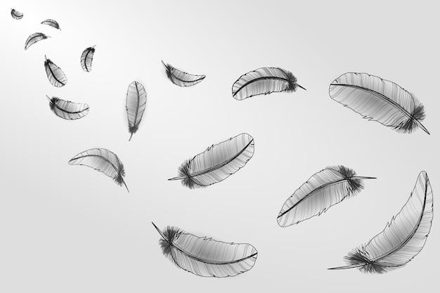 Plumes de croquis blancs gris réalistes ligne oiseau néon cygne, vent tombant en vol