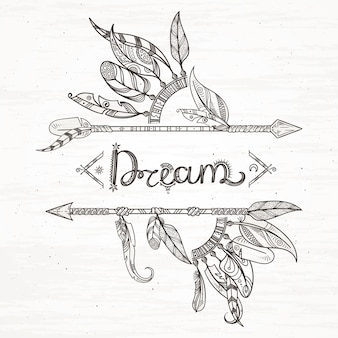 Plumes et flèches tribales. fond d'illustration dessiné à la main dans un style boho. flèche et plume style vintage dessiné à la main