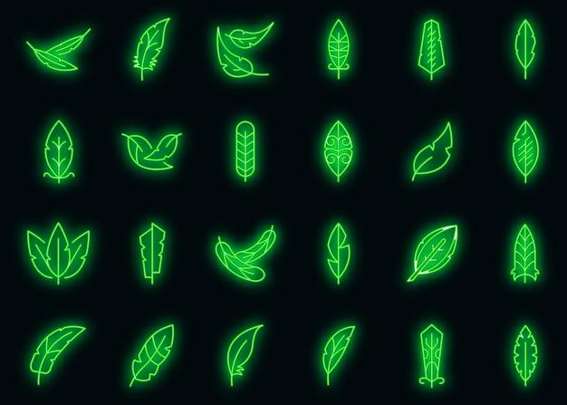 Plumes icons set vector néon