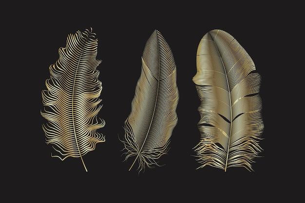 Plumes de paillettes d'argent et d'or.éléments de style boho, modèle de tatouage.