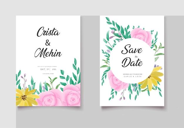 Plus bel ensemble de cartes d'invitation de mariage floral aquarelle