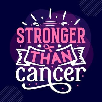 Plus fort que le cancer typographie modèle de devis de conception de t-shirt vectoriel premium