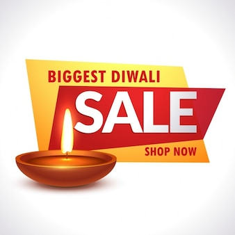 Plus grand diwali vente bannière avec diya réaliste