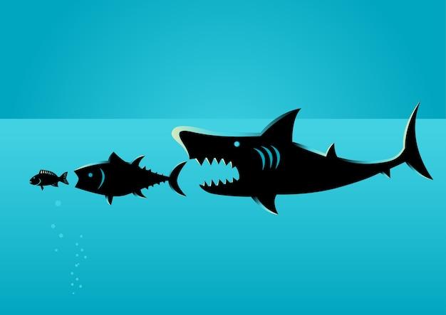 Un plus gros poisson se nourrit de plus petits poissons