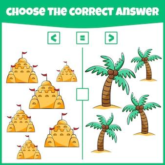 Plus inférieur ou égal comparez le nombre jeu de comptage jeu de mathématiques éducatif jeu de mathématiques pour enfants