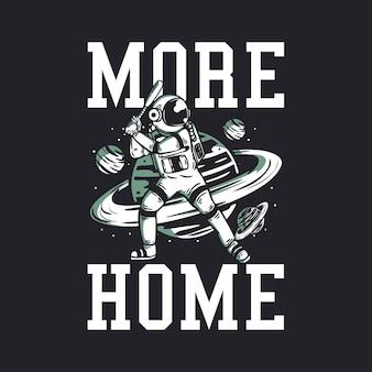 Plus à la maison avec un astronaute jouant au baseball vintage
