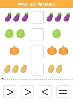 Plus, moins, égal avec l'aubergine de dessin animé, le chou, la pomme de terre et la citrouille.