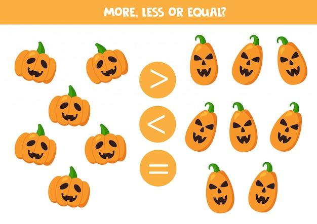 Plus, moins ou égal avec des citrouilles d'halloween effrayantes.