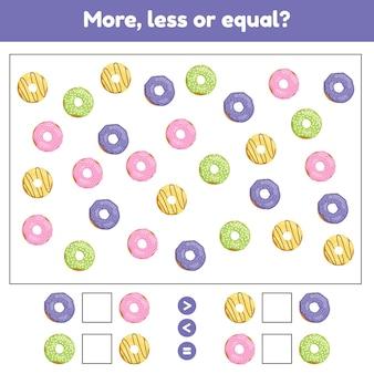 Plus moins ou égal jeu de mathématiques éducatif pour les enfants d'âge préscolaire et scolaire donuts