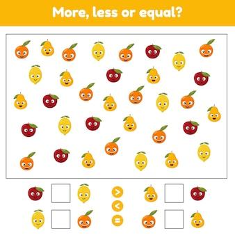 Plus moins ou égal jeu de mathématiques éducatif pour les enfants d'âge préscolaire et scolaire fruits