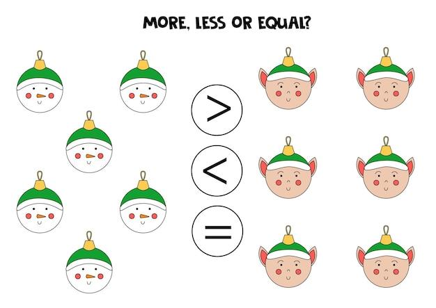 Plus, moins, égal avec de jolies boules de noël. comparaison mathématique.