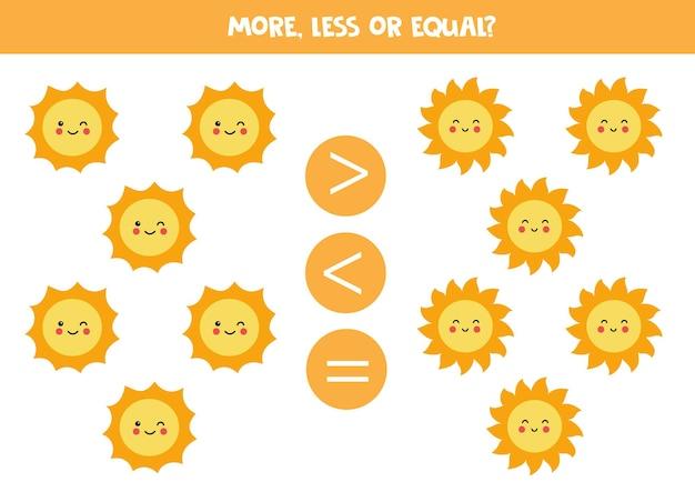 Plus, moins, égal avec de jolis soleils. jeu de maths