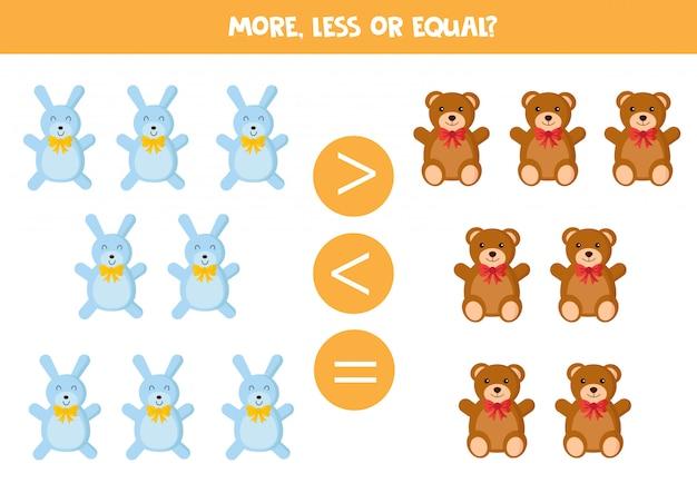 Plus ou moins. jeu d'ours en peluche et de lapins