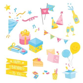 Plusieurs articles de fête mignons, illustration couleur pastel avec décoration de fête.