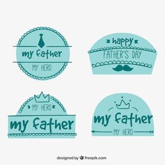 Plusieurs autocollants dessinés à la main pour la fête des pères
