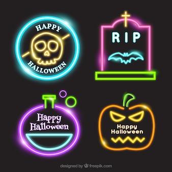 Plusieurs autocollants néon de halloween