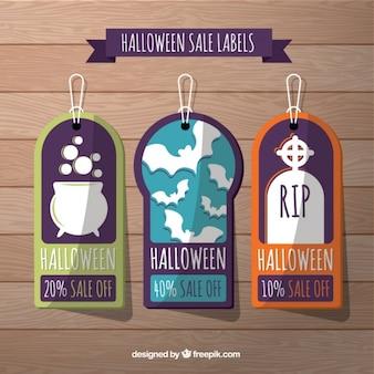 Plusieurs balises de halloween avec des remises