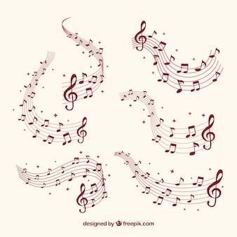 Plusieurs bâtons avec des notes musicales