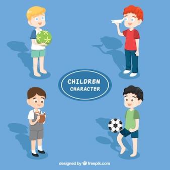 Plusieurs beaux enfants avec des jouets