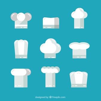 Plusieurs chapeaux de chef en design plat