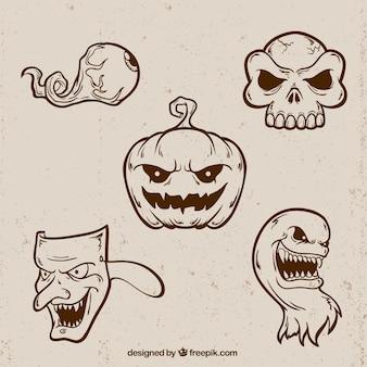 Plusieurs dessins de halloween