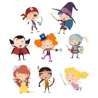 Plusieurs enfants déguisés pour une fête ou halloween