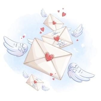 Plusieurs enveloppes volant sur des ailes dans le ciel bleu. composition de vecteur romantique.