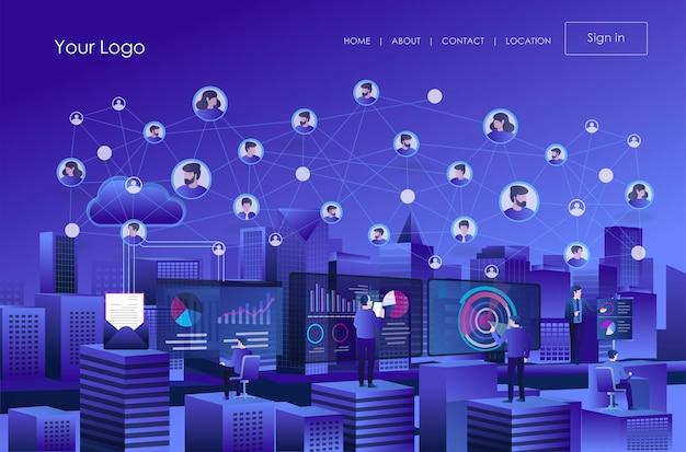 Plusieurs équipes de travail analysent les données du réseau de médias sociaux cloud et de transformation numérique